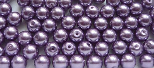 Voskové perly průměr 6mm 12 ks barva sv. fialová