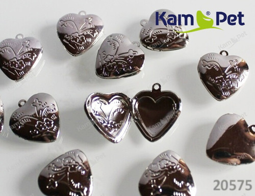 20575 Medailon srdce zdobený PLATINA, á 1ks