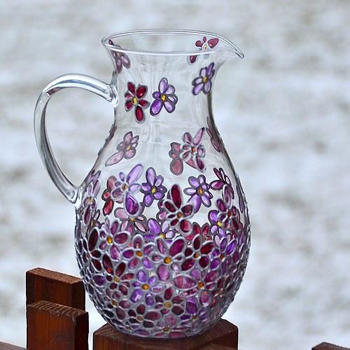 Skleněný džbán fialový 1l