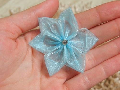 malinká světle modrá květina