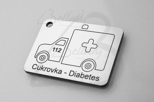 4257, PRÍVESOK Cukrovka-Diabetes STRIEBRO /1ks