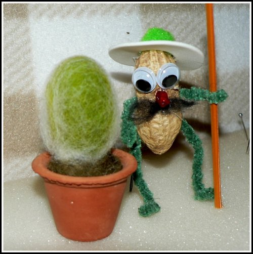 Skřítek pomocníček s kaktusím miminkem :)