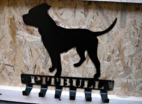 Věšák na obojky a vodítka -  pitbull - skladem