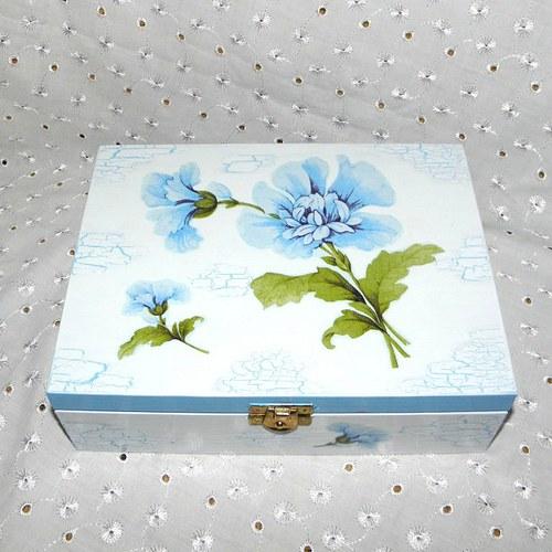 Krabička na čaj s modrou květinou
