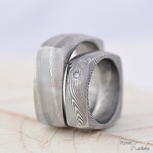 Prsten damasteel - Round squer a diamant 2mm