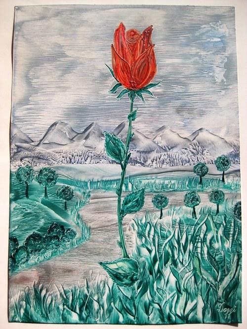 Krajina s růží