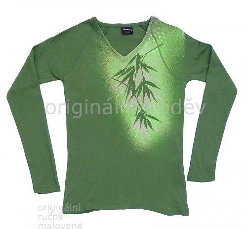 SLEVA: Malované tričko dámské - listy - zelené