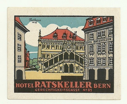 Hotelové nálepky Ratskeller Bern