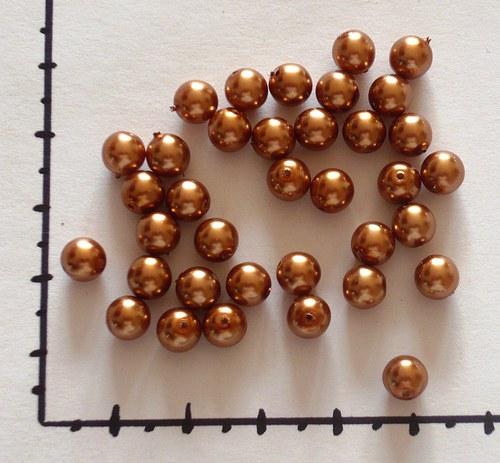 Perličky skleněné voskované bronzové 6mm, 36ks