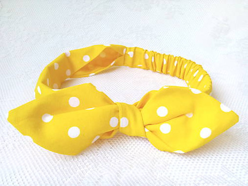 Pin Up headband on elastic for kids (yellow/dots)