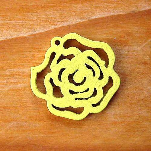 Dřevěná Růžička - 2ks - Žlutá