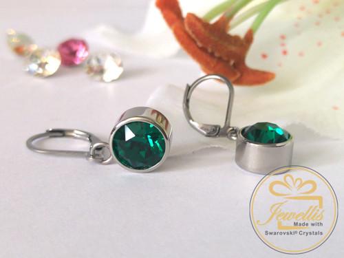 Ocelové visací náušnice Swarovski - Emerald