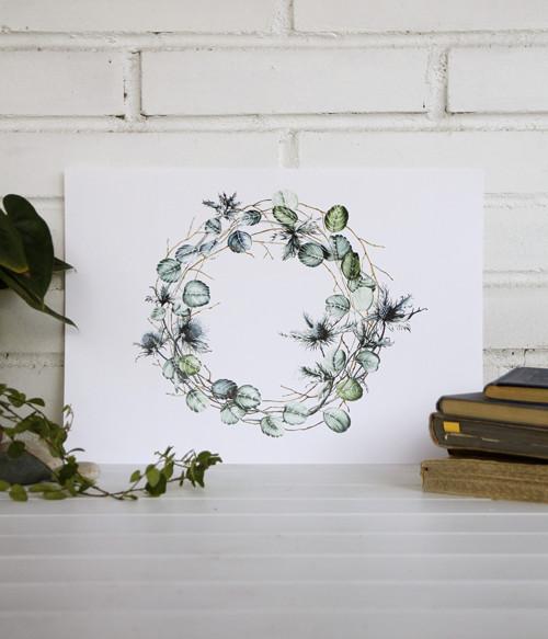 Věnec eukalyptu, bodláčí a borůvčí (A3)