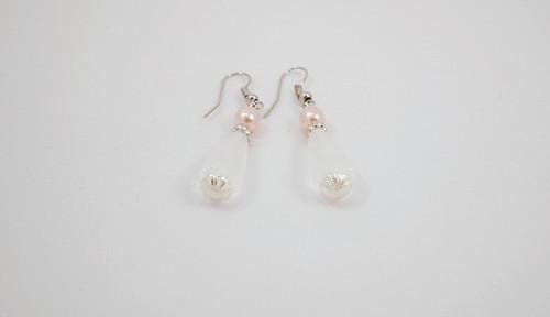 náušnice kapky s růžovou perlou