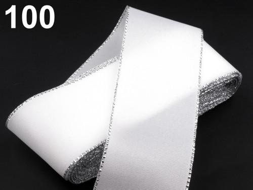 Taftová stuha s lurexem 40mm (10m) - bílá stříbrná