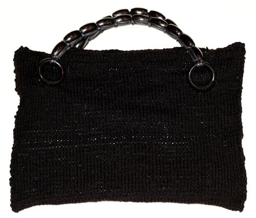 Černá pletená kabelka 36 x 29 cm