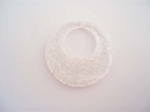 Přívěsek KRAKL plast 48mm kruh bílý
