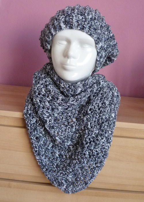 Akrylový šátek - šedý s metalickým vláknem