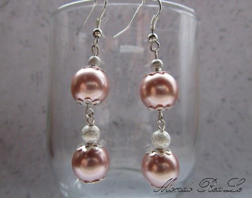 Jemné náušnice - růžové perle