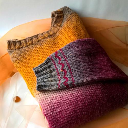 Vřes a šafrán - svetr ze 100% vlny