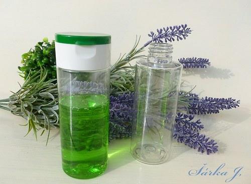 lahvička s dávkovacím uzávěrem /bílo-zelená/