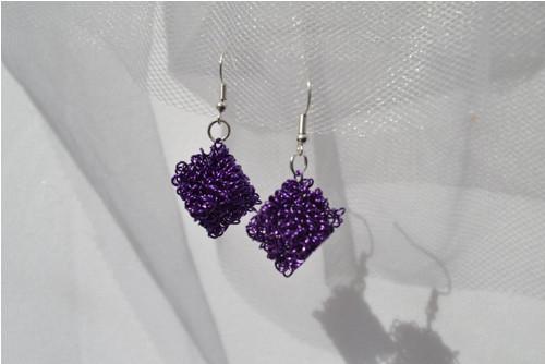 Drátěnky fialové - náušnice