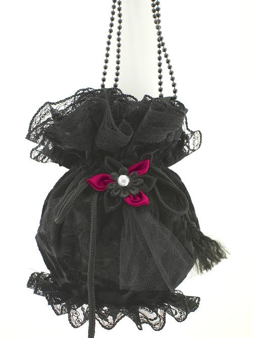 Gothic sametová kabelka pompadůrka černá L5