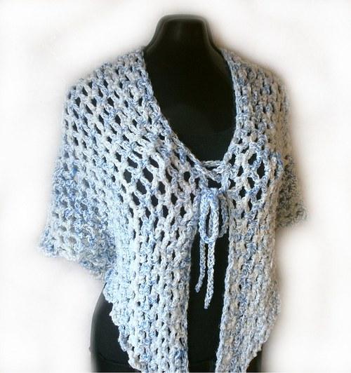 ...háčkovaný šátek,nákrčník i pončo do modra
