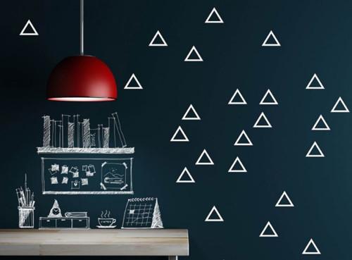 Nálepky na zeď - trojúhelníky, 35 ks, více barev