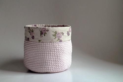 Košík - Růžový světlý | obšitý | růžičky