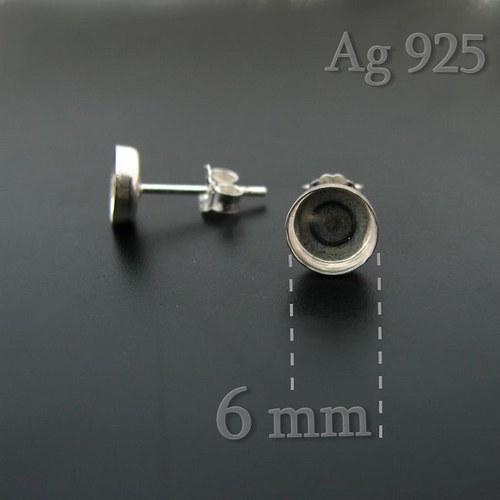 Puzety s lůžkem (6mm) stříbro Ag925. 2ks (1 pár)