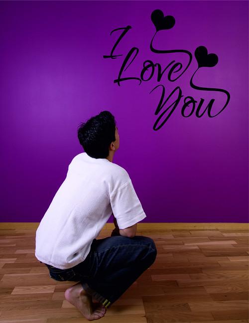 Samolepka na zeď - nápis I love you