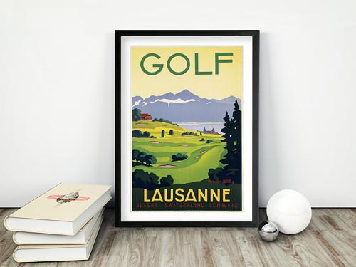 Vintage plakát Golf Lausanne