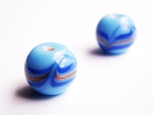 Modrá kulička s modrozlatým vířením ((V80))