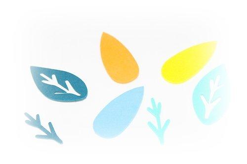 Pěnová guma-výseky - listy a stonky 15ks