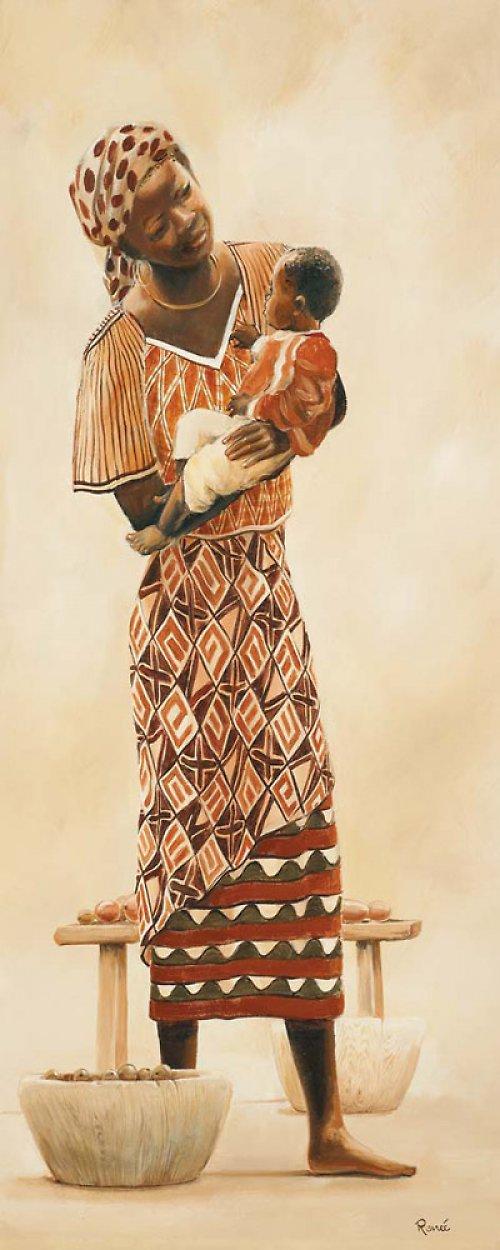 Reprodukce-tisk-Etno afričan s kopím 10x25cm -463