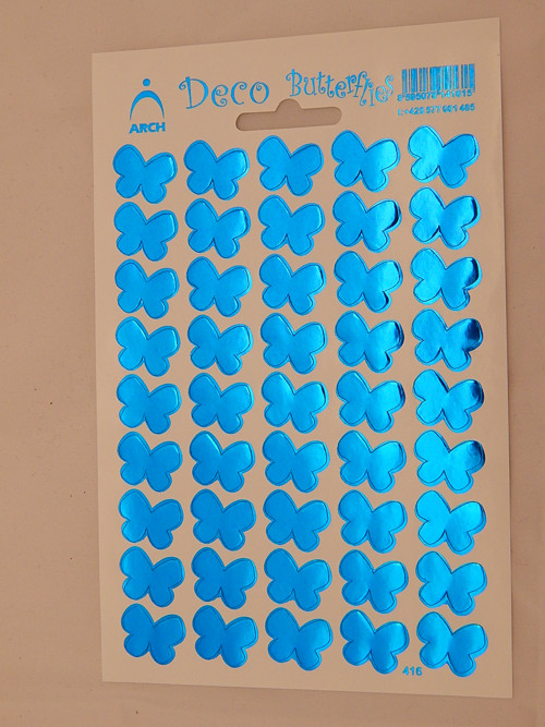 Samolepky lesk motýl modrá