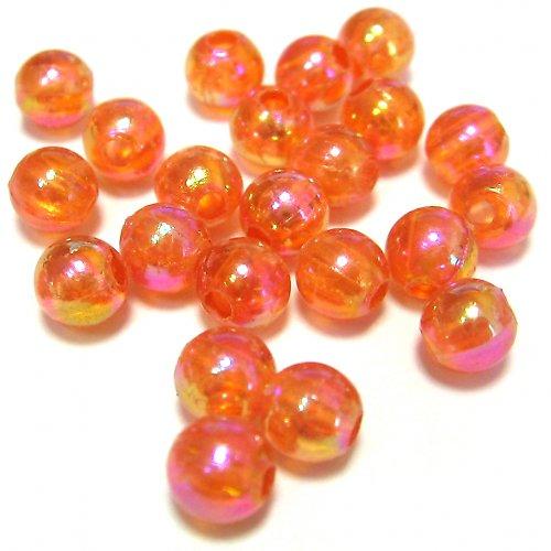 Perly - oranžové duhové - 50 ks