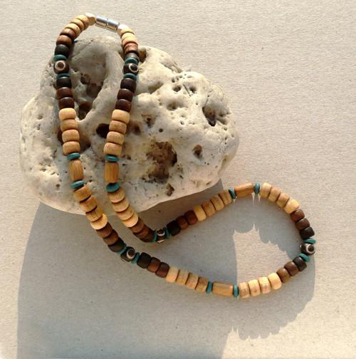 Pánský dřevěný náhrdelník WOLLEMIS /dřevo, kost