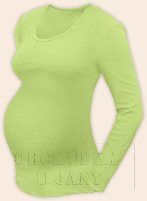Těhotenské tričko s dlouhým rukávem zelenkavé