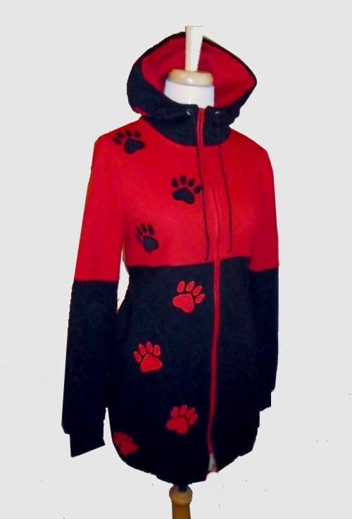 Dámská mikino bunda červenočerná...36 - 48