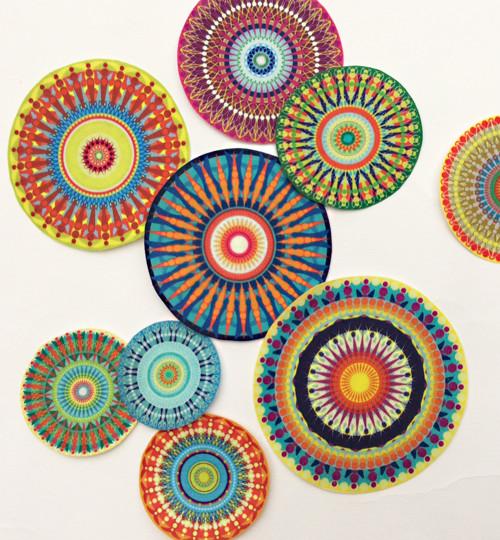 Mandala II. - 9ks - nažehlovací textilní obrázky