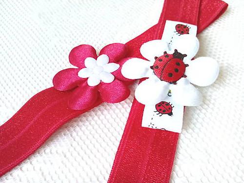 Baby girl elastic headbands (red/white)