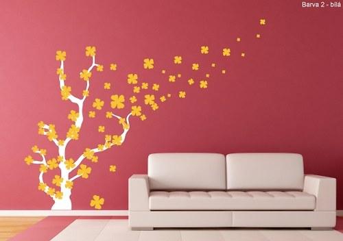 Samolepka - Kvetoucí strom ve větru (75 x 110 cm)