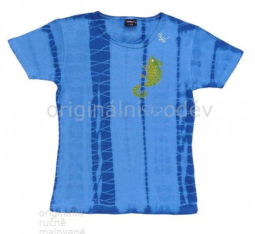 SLEVA: Malované tričko dámské - chameleon - modré