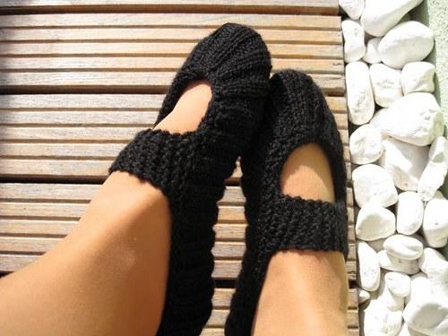 Pletené balerínky - čierna