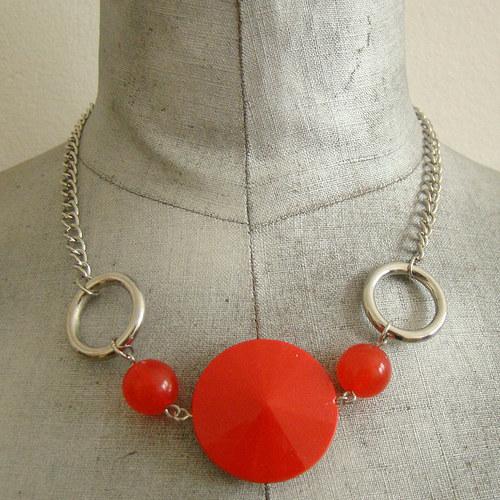 náhrdelník červenostříbrný