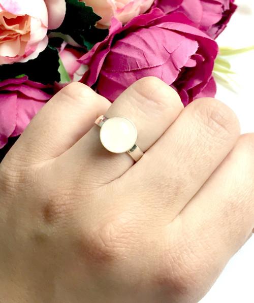 Strieborný elegantný prsteň s ruženínom ag925