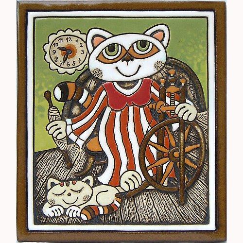 Keramický obrázek - Kočka a kolovrátek K-141-Z