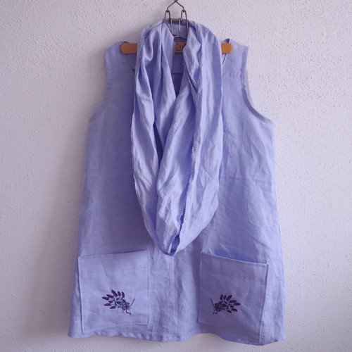 Lavender love - lněná tunika s výšivkou